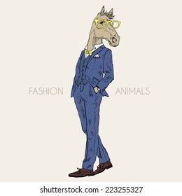Fashion illustration of horse dressed up in suit, chic style