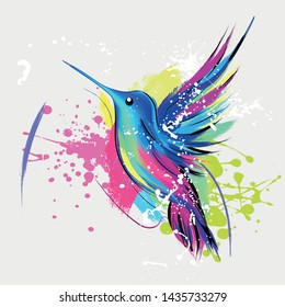 Fashion illustration with hummingbird and colorful paint splash. Decorative wings