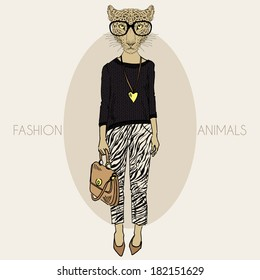 Fashion illustration of leopard girl dressed up in casual style
