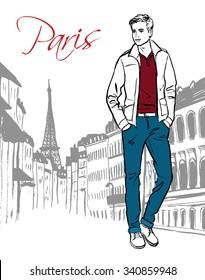 Fashion illustration of man walking on street of Paris. Hand drawn ink sketch.