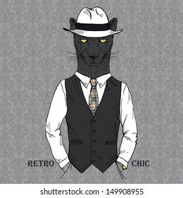 Fashion Illustration of Panther dressed in Vintage Style, Retro Chic, Vector Image