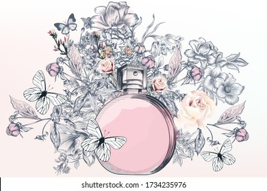 Fashion illustration with perfume bottle,  butterflies and rose flowers