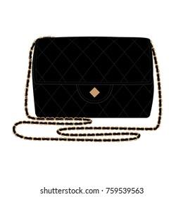 Fashion Illustration with quilt black handbag. Little black bag vector illustration