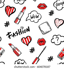 Fashion illustration seamless pattern. Love fashion hand drawn text and make up design elements. Lips and lipstick, hashtag symbol and speech bubbles. Sketch set.