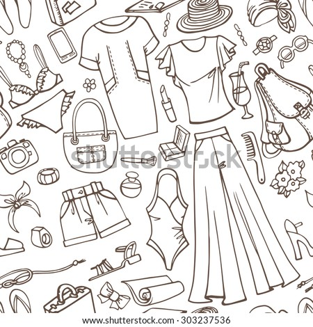 2539458abc53 Fashion illustration seamless pattern.Summer vacation wear.Vector hand drawn  linear doodle