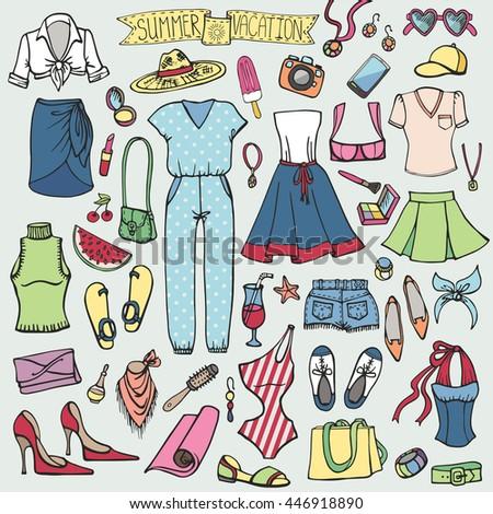 2cacec78ef6c Fashion Illustration Summer Wear Set Woman Wardrobe Vector Stock ...