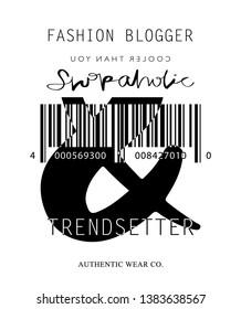 Fashion illustration tee slogan design for t shirts, prints, posters etc / Texts like shopaholic, trendsetter, fashion blogger concept