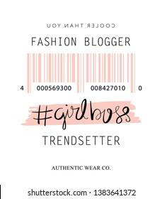 Fashion illustration tee slogan design for t shirts, prints, posters etc / Trendsetter girl boss concept