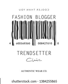 Fashion illustration tee slogan design for t shirts, prints, posters etc / Bar code concept with fashion blogger, trendsetter words