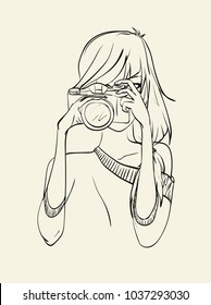 fashion illustration of teen girl hipster with camera