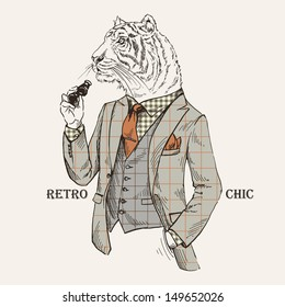 Fashion Illustration of Tiger dressed in Vintage Style, Retro Chic, Vector Image