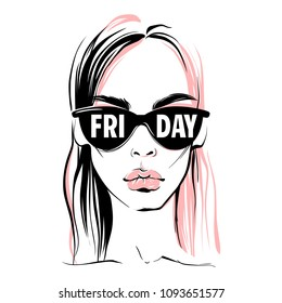 Fashion illustration. Vector girl. Fashion woman in sunglasses. Hand drawn stylish woman in sketch style. Beautiful face. Young model art in vogue style. Friday.