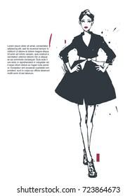 Fashion illustration. Vector hand-drawn sketch.