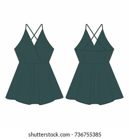 Fashion illustration vector. Spring-summer season. Women jumpsuit