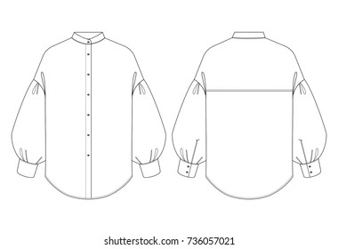 Fashion illustration vector. Women blouse with volume sleeves. Spring-summer season.