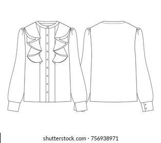 Fashion illustration vector. Women blouse with long sleeves