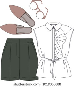 Fashion illustration vector. Women set: blouse with ruffles, shorts, mules and sun glasses. Colored technical drawing vector