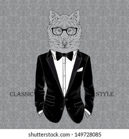Fashion Illustration of Wolf dressed in Dinner Jacket, Classic Style, Vector Image