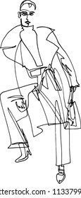 Fashion illustration of a woman in a coat and pants with a bag in high-heeled shoes. Minimalist illustration, one continuous line, autumn city fashion