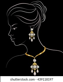 Fashion illustration of woman with pearl necklace and earrings