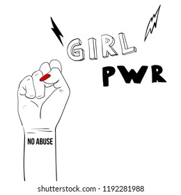 Fashion illustration. Woman's hand with fist raised up. Girl Power. Feminism concept. Realistic style illustration isolated on white. Sticker, patch graphic design. Girl power quote with female fist