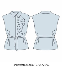 Fashion illustration. Women blouse with ruffles. Technical drawing vector