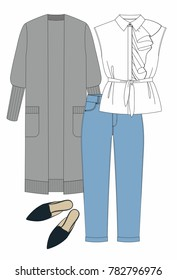 Fashion illustration. Women set: blouse with ruffles, jeans, knitted jacket and mules. Technical drawing vector