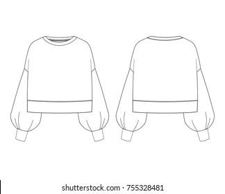 fashion illustration. Women fashion sweatshirt