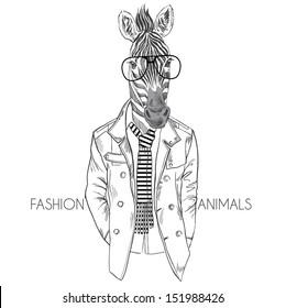 Fashion Illustration of Zebra in black &white