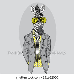 Fashion Illustration of Zebra in Yellow Glasses Isolated on Grey Background