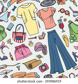 Fashion illustration,seamless pattern.Summer vacation women wear.Vector hand drawn doodle,fashionable travel clothes,dress and accessories  background.Sketches ornament,textile,wallpaper or backdrop.