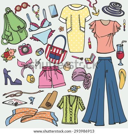 7a21e7eae70a Fashion Illustration Summer Vacation Wear Vector Hand Drawn Stock ...