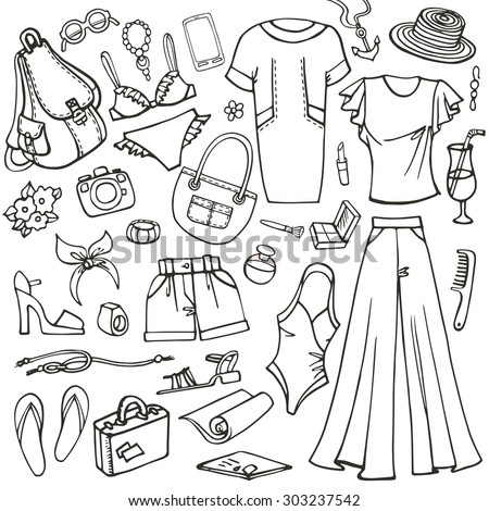 7aefcc768fd8 Fashion illustration.Summer vacation wear.Vector hand drawn linear doodle