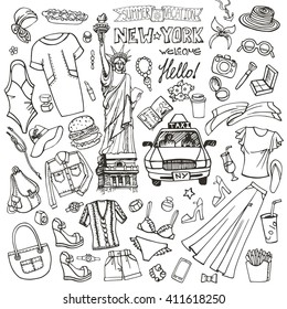 Fashion illustration.USA,New York.Women summer vacation. Dress,clothes,accessories. Hand drawing fashionable Vector doodles