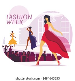 Fashion Industry Flat Social Media Banner Layout. Top Models and Show Viewers Cartoon Characters. Beautiful Designer Apparel Poster Concept. Women Posing in Dresses Illustration with Typography