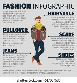 Fashion infographic with young artist man. Vector illustration