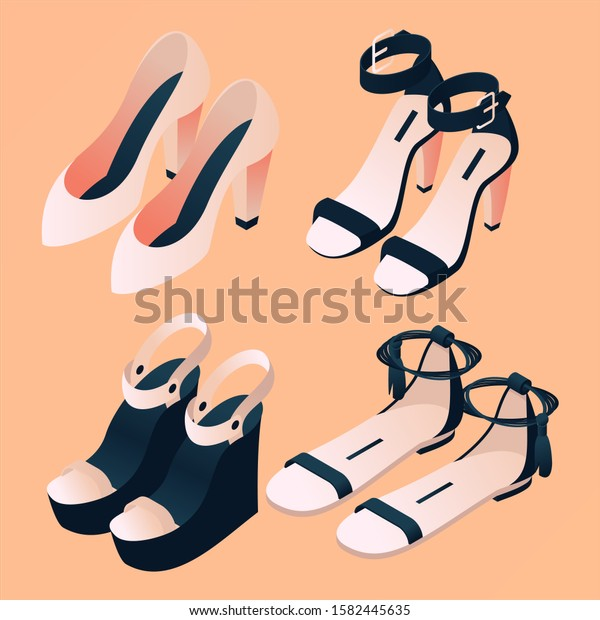 Fashion Isometric Footwear Collection On Peach Stock Vector Royalty Free 1582445635