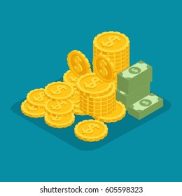 Fashion Isometric Objects. A big pile of cash. Hundreds of dollars. Gold, money, bills. Dollars, precious manet, winning isolated on bright blue background.