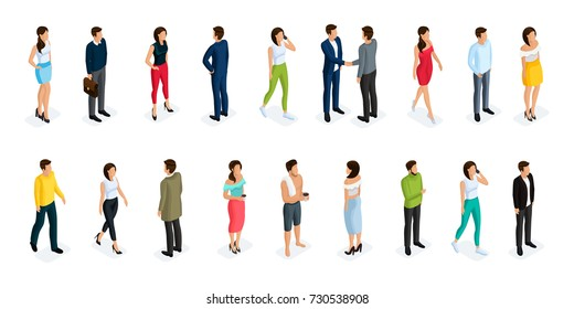 Fashion isometric people, men and women 3D, front view back view. People in fashionable clothes, in different poses. Vector illustration.