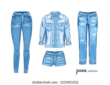 Fashion jean cloth set.  Vector illustration. Watercolor style