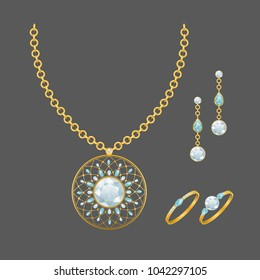 Fashion jewelry set with gemstones - pendant, rings and earrings