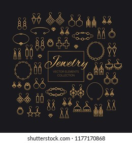 Fashion jewelry shop vector illustrations set. Golden luxury jewels and precious gifts icons collection. Women's accessories, earrings, bracelets, necklaces, pendants, rings with beads and diamonds