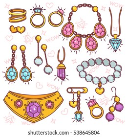 Fashion jewelry vector set. Collection symbols of luxury accessory: necklace and earring, gold ring with diamond and pearl bead, chain and pendant. Sign of precious, treasure and gem.