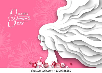 Fashion lady with paper cut long hair and flowers on pink background. Vector Illustration. 8 March, International Womens Day.