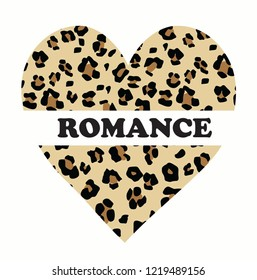 fashion leopard slogan graphic with leopard skin heart  for t shirt