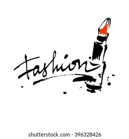 Fashion lettering logo with lipstick. Brush stroke vector sketch cosmetic quote.