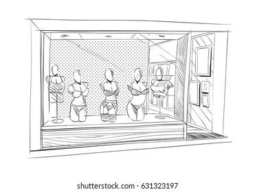 Fashion lingerie store hand drawn sketch interior design. Vector illustration