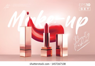 Fashion lipstick make-up banner. Beauty and cosmetics background. Realistic vector lipstick. Fashionable cosmetics Make up design background. Use for advertising flyer, banner, leaflet Template.