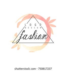 Fashion logo design, badge for clothes boutique, beauty salon or cosmetician watercolor vector Illustration on a white background