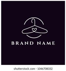fashion logo design. clothing logo template. minimalist outline hanger logo